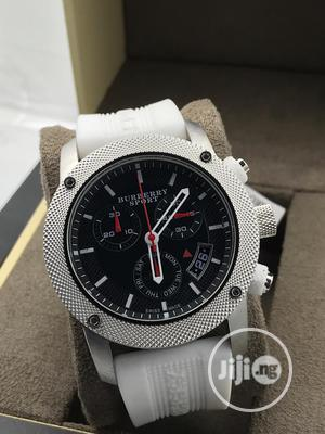 Burberry Chronograph Silver White Rubber Strap Watch | Watches for sale in Lagos State, Lagos Island (Eko)