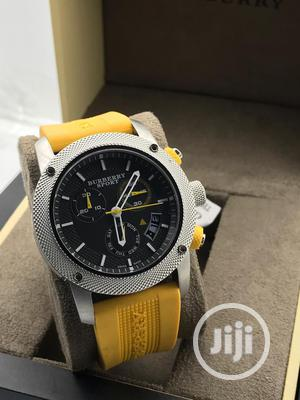 Burberry Chronograph Silver Rubber Strap Watch | Watches for sale in Lagos State, Lagos Island (Eko)