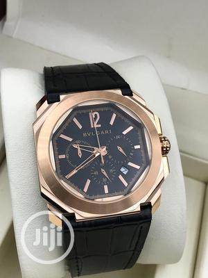 Bvlgari Chronograph Rose Gold Leather Strap Watch | Watches for sale in Lagos State, Lagos Island (Eko)