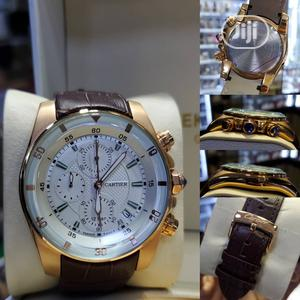 Cartier Chronograph Rose Gold Leather Strap Watch | Watches for sale in Lagos State, Lagos Island (Eko)