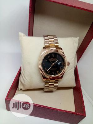 Rolex Oyster Perpetual Black Face Wristwatch - Rose Gold | Watches for sale in Lagos State, Ojodu