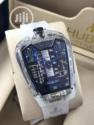 Hublot (Ferrari) Transparent White Rubber Strap Watch | Watches for sale in Lagos State, Lagos Island (Eko)