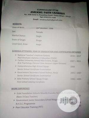 Teaching CV | Teaching CVs for sale in Abuja (FCT) State, Galadimawa