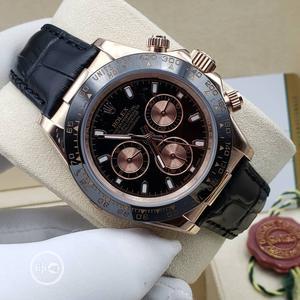 Rolex (Daytona) Chronograph Rose Gold/Black Leather Watch | Watches for sale in Lagos State, Lagos Island (Eko)
