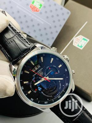 TAG Heuer Chronograph Silver Leather Strap Watch | Watches for sale in Lagos State, Lagos Island (Eko)