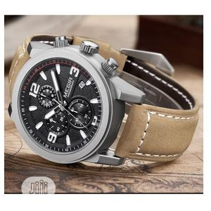 Sport Chronograph Leather Strap - Brown | Watches for sale in Lagos State, Ifako-Ijaiye