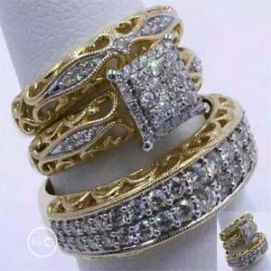 3pcs Gold And Silver Wedding Ring | Wedding Wear & Accessories for sale in Lagos State, Ikorodu