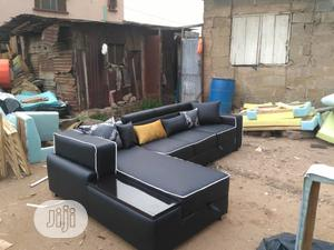L- Shaped Leather Sofa With Throw Pillows | Furniture for sale in Lagos State, Agege