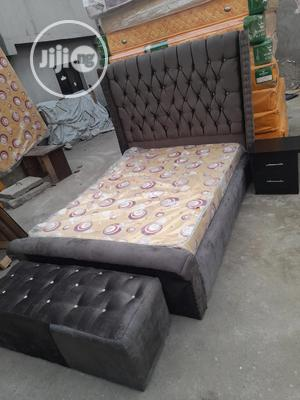 4 And Half By6 Upholstery Bed With Quality Muka Mattress | Furniture for sale in Lagos State, Ojo