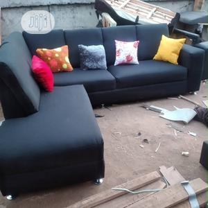 Black L- Shaped Fabric Sofa With Throw Pillows | Furniture for sale in Lagos State, Agege