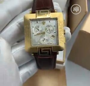 High Quality Versace Gold Dial Leather Watch   Watches for sale in Lagos State, Magodo