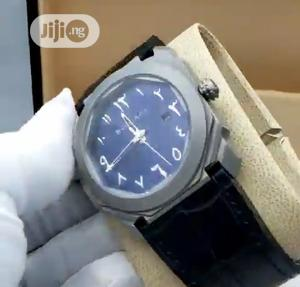 High Quality Bvlgari Blue&Gray Arabic Dial Leather Watch   Watches for sale in Lagos State, Magodo