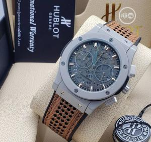 High Quality Hublot Gray Dial Leather Watch | Watches for sale in Lagos State, Magodo