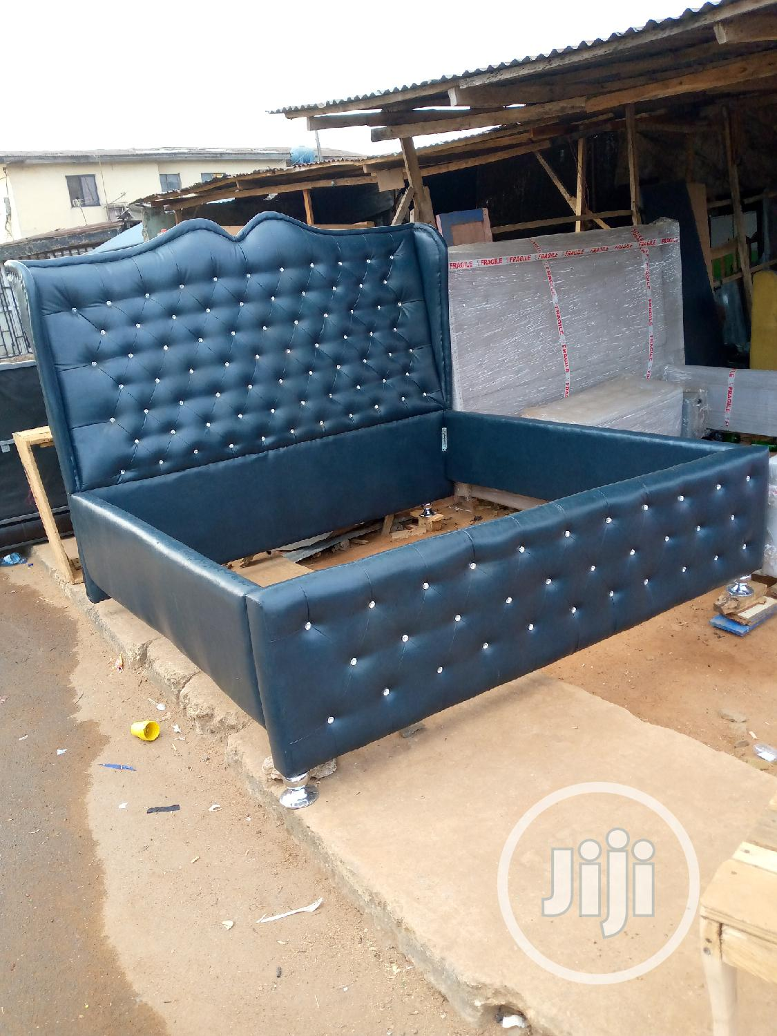 6by6 Bed Made of Stock Leather | Furniture for sale in Ikeja, Lagos State, Nigeria