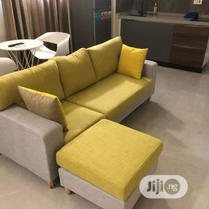 Simple Yellow L-Shaped Sofa wit Throw pillows  | Furniture for sale in Lagos State, Gbagada