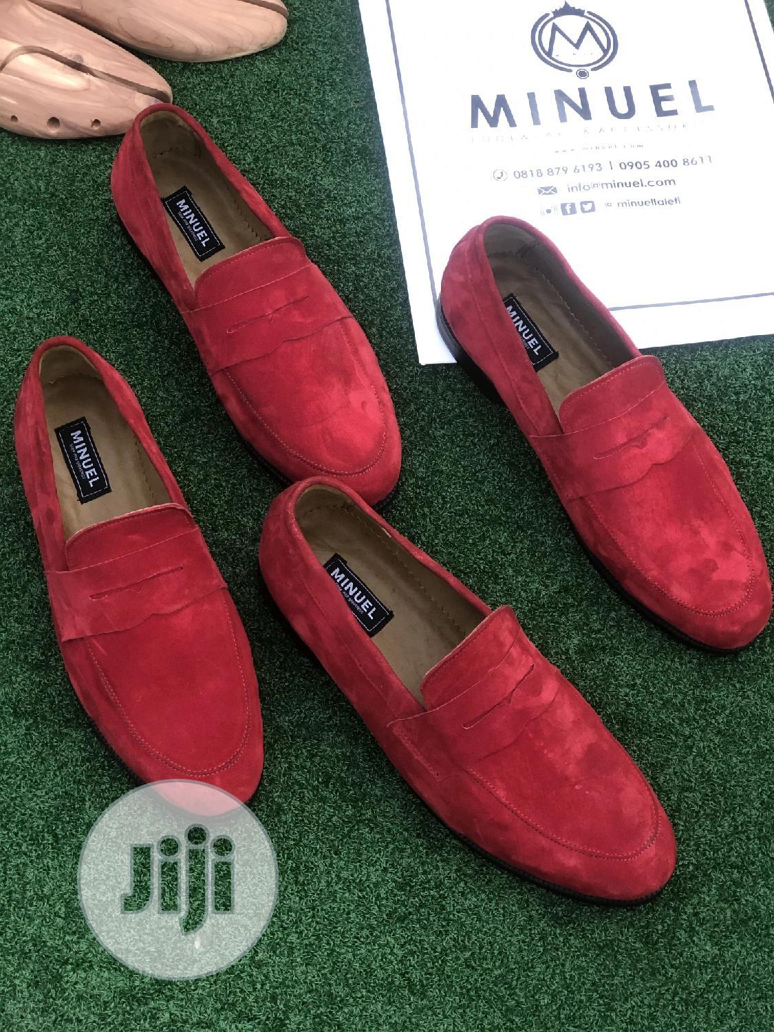 Red Suede Penny Loafers