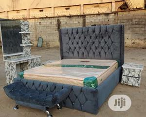 6×6 Upholstery Bed Frame With Imported Orthopedic Mattress | Furniture for sale in Lagos State, Ojo
