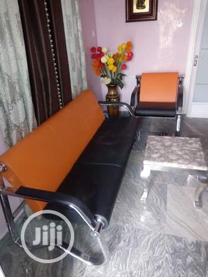 Semi Executive Orange and Black Mini Sofa   Furniture for sale in Abuja (FCT) State, Maitama