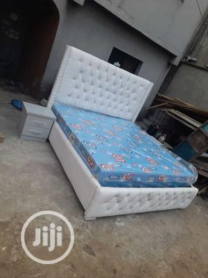 7by6 Padded Leather Bed Frame With Original Mattress   Furniture for sale in Lagos State, Ojo