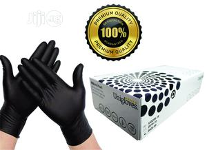 Uniglove Pearl Black Nitrile Gloves - Large - Box Of 100 Glo | Medical Supplies & Equipment for sale in Lagos State, Surulere