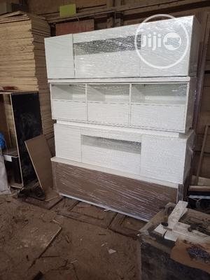 All White Tv Stand With Light | Furniture for sale in Lagos State, Ikorodu