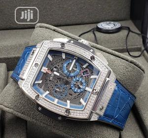 Hublot Chronograph Ice Head Silver Blue Leather Strap Watch | Watches for sale in Lagos State, Lagos Island (Eko)