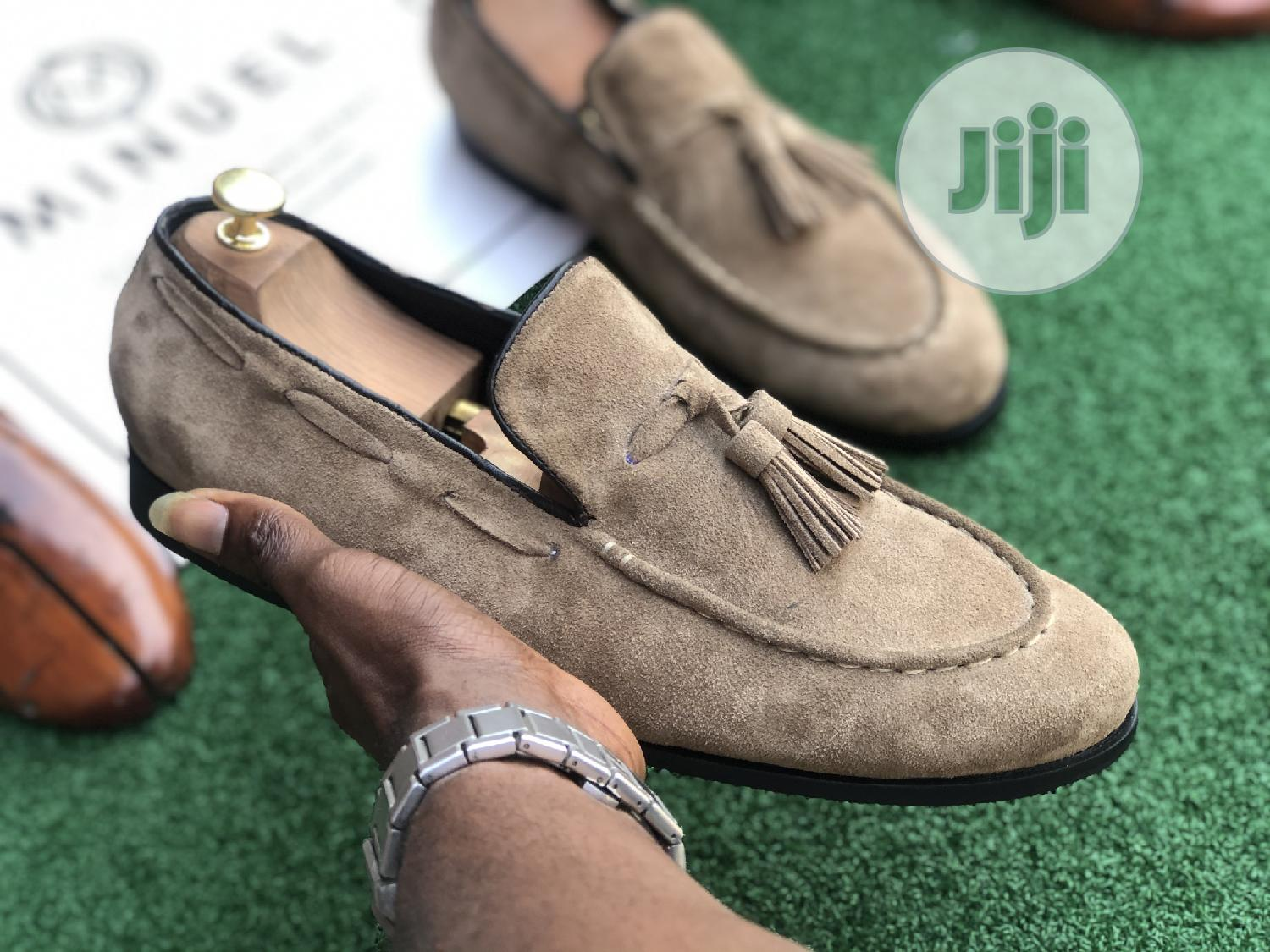 Golden Brown Suede Loafers With Tassel | Shoes for sale in Mushin, Lagos State, Nigeria