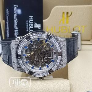 Hublot Automatic Full Ice Silver Leather Strap Watch   Watches for sale in Lagos State, Lagos Island (Eko)