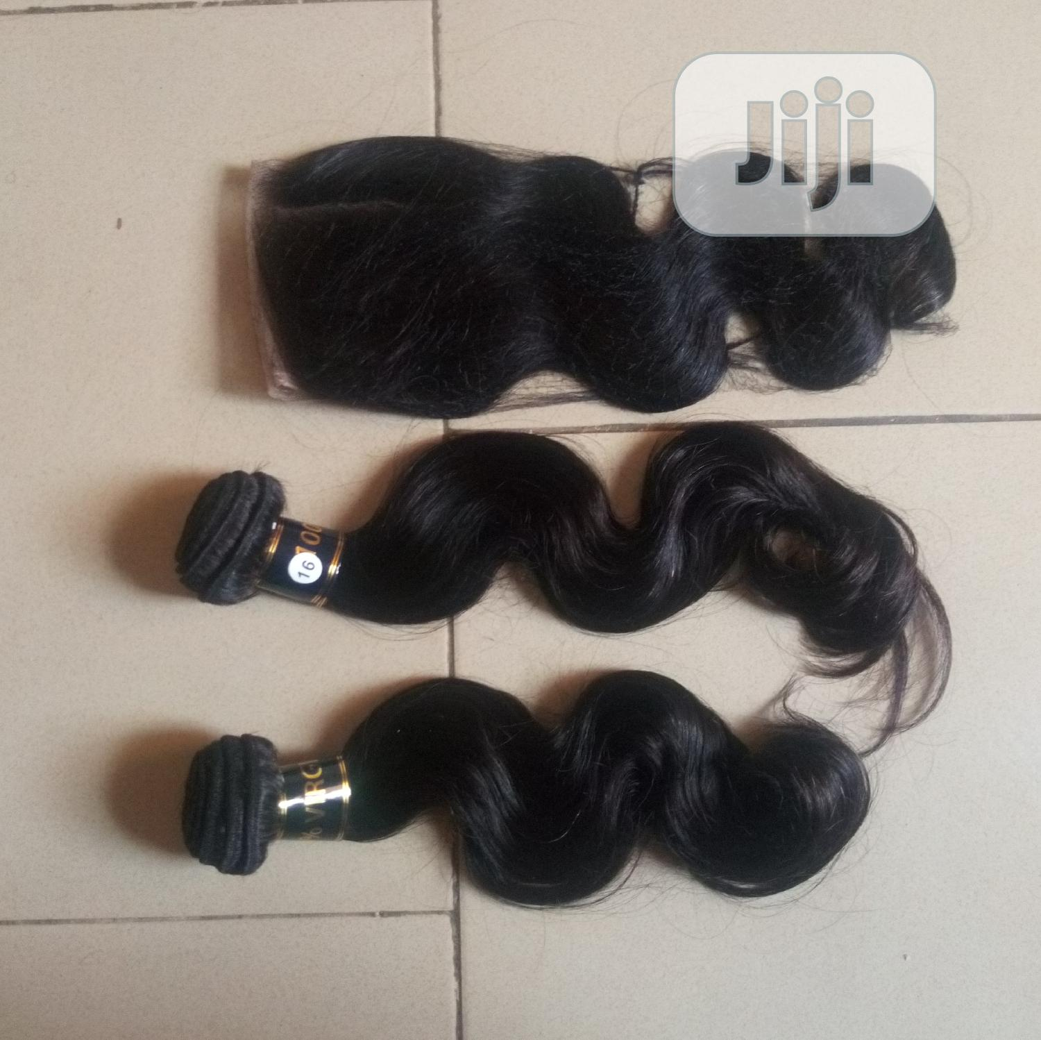 Body Wave Hair 100% Human Hair Three Bundles and Closure | Hair Beauty for sale in Apo District, Abuja (FCT) State, Nigeria