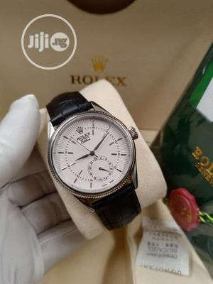 Rolex Silver Leather Strap Watch | Watches for sale in Lagos State, Lagos Island (Eko)