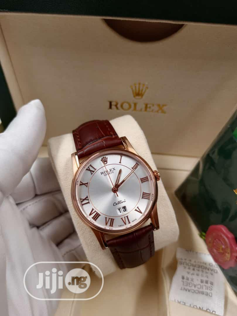 Rolex Flat Rose Gold Leather Strap Watch