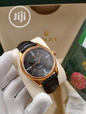 Rolex Rose Gold Leather Strap Watch | Watches for sale in Lagos State, Lagos Island (Eko)