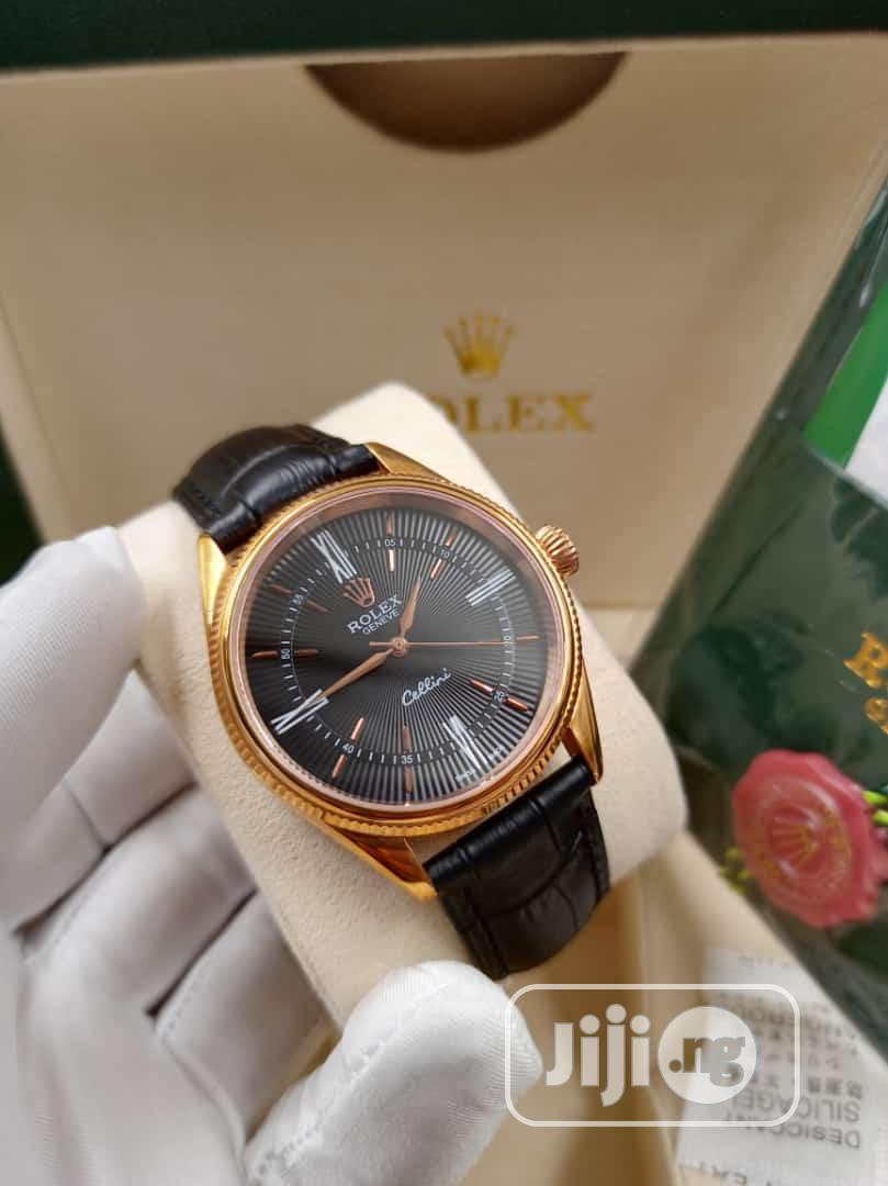Rolex Rose Gold Leather Strap Watch