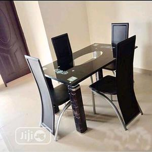 Glass Dinning Table With 4 Quality Chairs | Furniture for sale in Lagos State, Ikeja