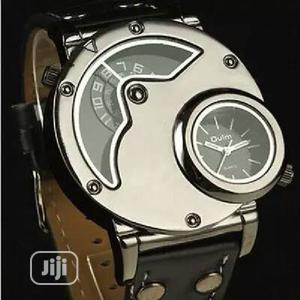 Oulm Military Double Engine Genuine Leather Wristwatch | Watches for sale in Lagos State, Ikeja