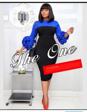 Quality Ladies Fitted Gown With Ruffle Sleeve | Clothing for sale in Lagos State, Ikeja