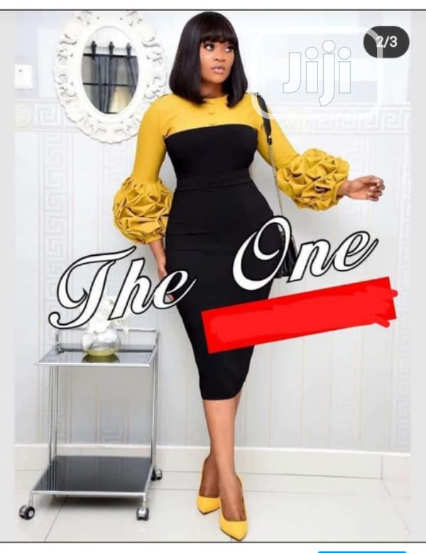 Quality Ladies Fitted Gown With Ruffle Sleeve | Clothing for sale in Ikeja, Lagos State, Nigeria