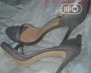 BOOHOO Gray Suede Platform Heeled Sandals | Shoes for sale in Lagos State, Ajah