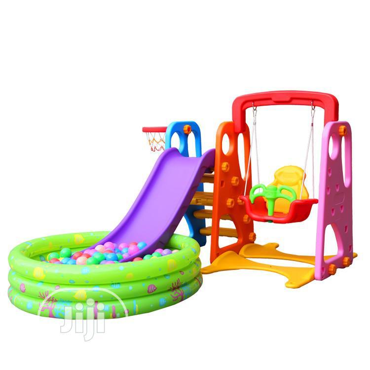 Kids 4 in 1indoor Swing, Slide, Basketball and Ball Pool Set