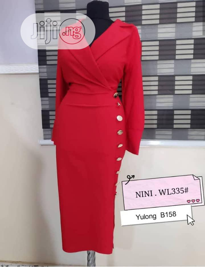 Quality Ladies Fitted Vneck Gown | Clothing for sale in Ikeja, Lagos State, Nigeria