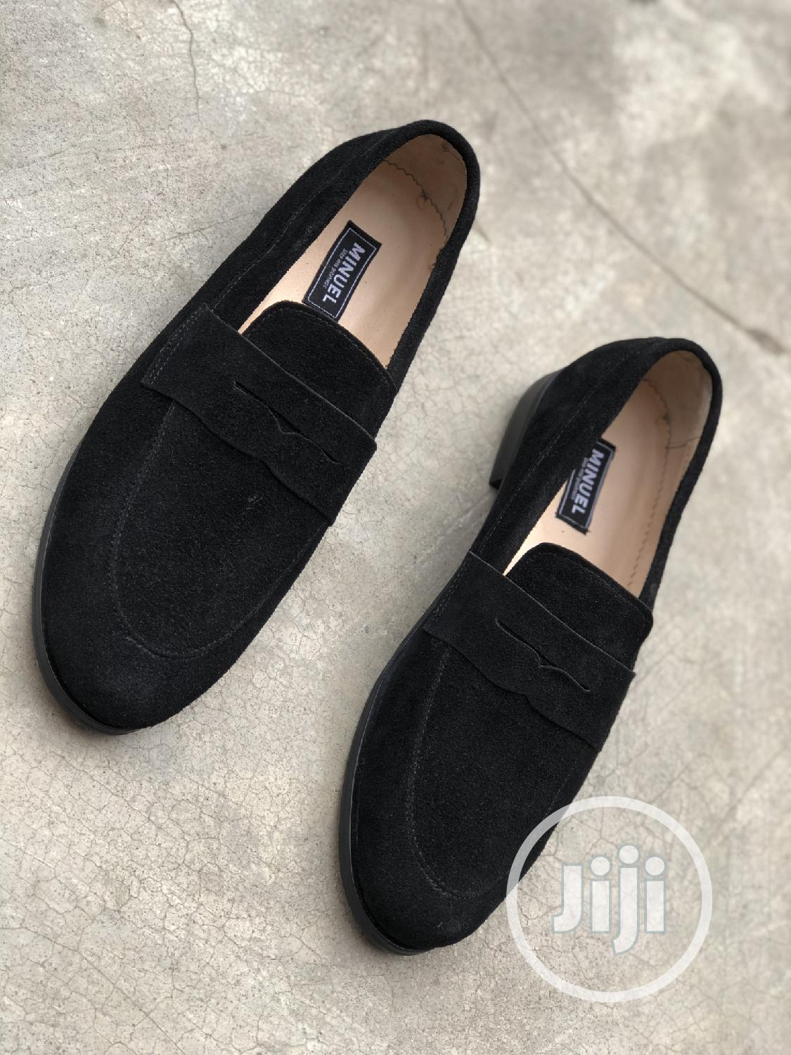Blavk Suede Penny Loafers