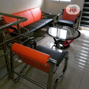 5 Seaters of Sofa Orange and Black   Furniture for sale in Lagos State, Ajah