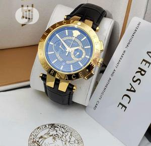High Quality Versace Blue White Dial Leather Watch   Watches for sale in Lagos State, Magodo