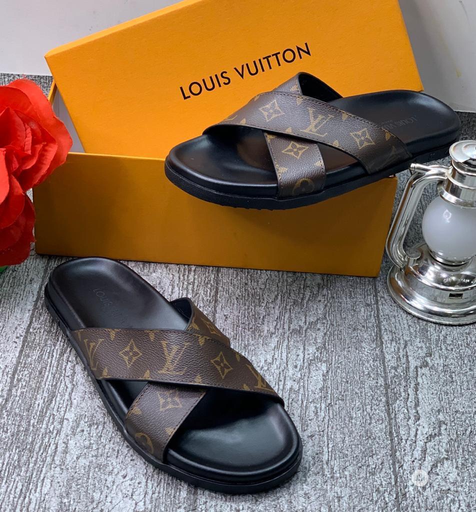 Louis Vuitton Luxury Men Leather Slippers