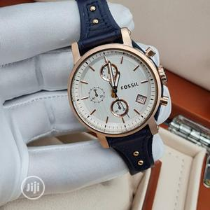 High Quality Fossil Silver Dial Leather Watch   Watches for sale in Lagos State, Magodo