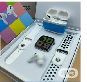 T55 Smartwatch Heart Rate With Airpod Pro White   Smart Watches & Trackers for sale in Lagos State, Ikeja