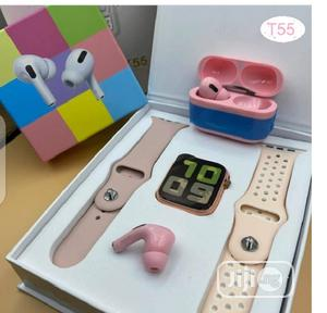 T55 Smartwatch Heart Rate With Airpod Pro   Smart Watches & Trackers for sale in Lagos State, Ikeja