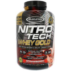 Muscletech Nitro Tech, 100% Whey Gold,Strawberry 5.53 Lbs   Vitamins & Supplements for sale in Lagos State, Amuwo-Odofin