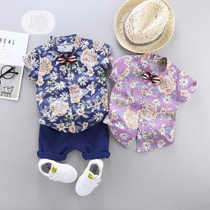 Floral Shirt and Short + Mini Tie | Children's Clothing for sale in Lagos State, Ajah