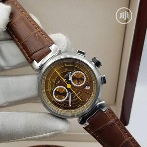 High Quality Louis Vuitton Black Dial Leather Watch for Men   Watches for sale in Lagos State, Magodo
